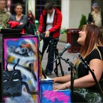 Singer Randi Boulton on the street piano in downtown Calgary.