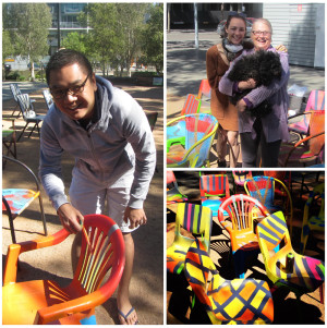 Chair Bombing: The community recycled and painted chairs to 'bomb' at upcoming events.