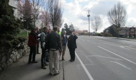 Discussing bike lane and car lane widths on Gorge Road.