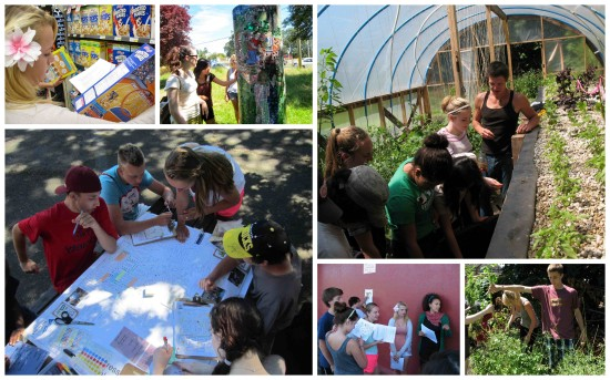 Learning about food security through grocery scavenger hunts, community mapping and getting hands dirty at Mason Street Urban Farm.  (images: Sarah Rose Robert)
