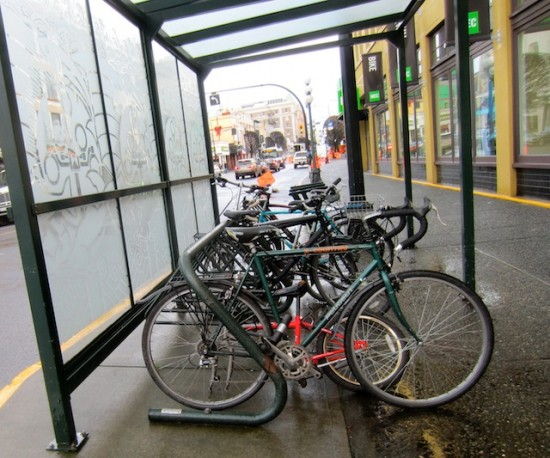 Comfort, convenience: a covered bike rack on Government St., downtown Victoria
