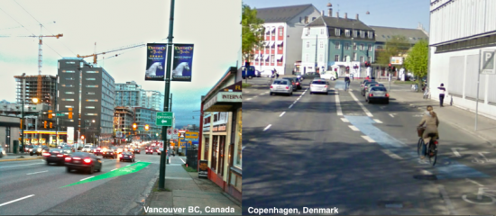 Comparing bike lane treatments in Vancouver, Canada with Copenhagen, Denmark