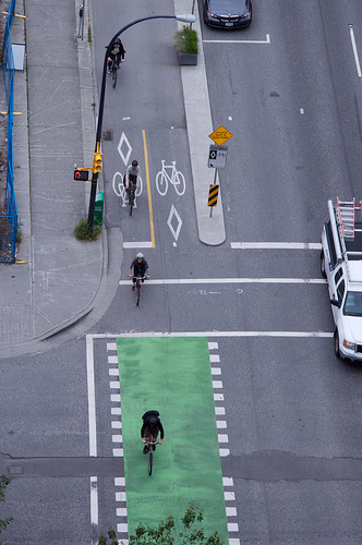 "Bike ""track"" on Hornby St., Vancouver with dedicated signals."