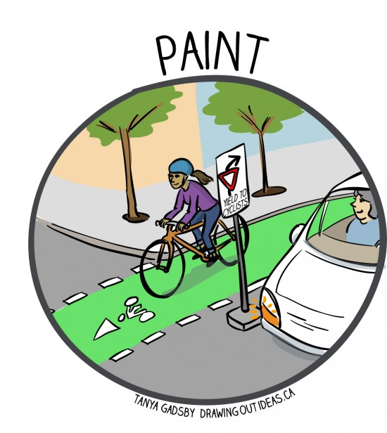 To create awareness of safe bike / car movements, bike lanes need greater visibility.