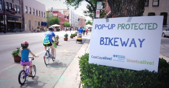 Pop up bike lane in Fargo, ND.  Photo: Dakota Medical Foundation